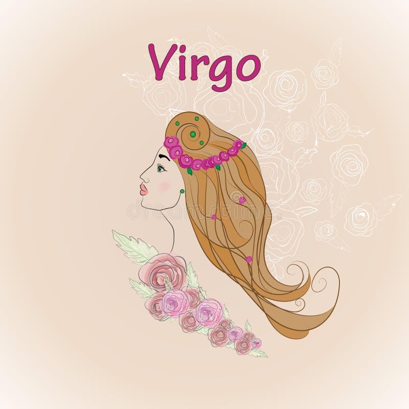 Sinal do zodíaco da Virgem, cartão retro do estilo ilustração stock