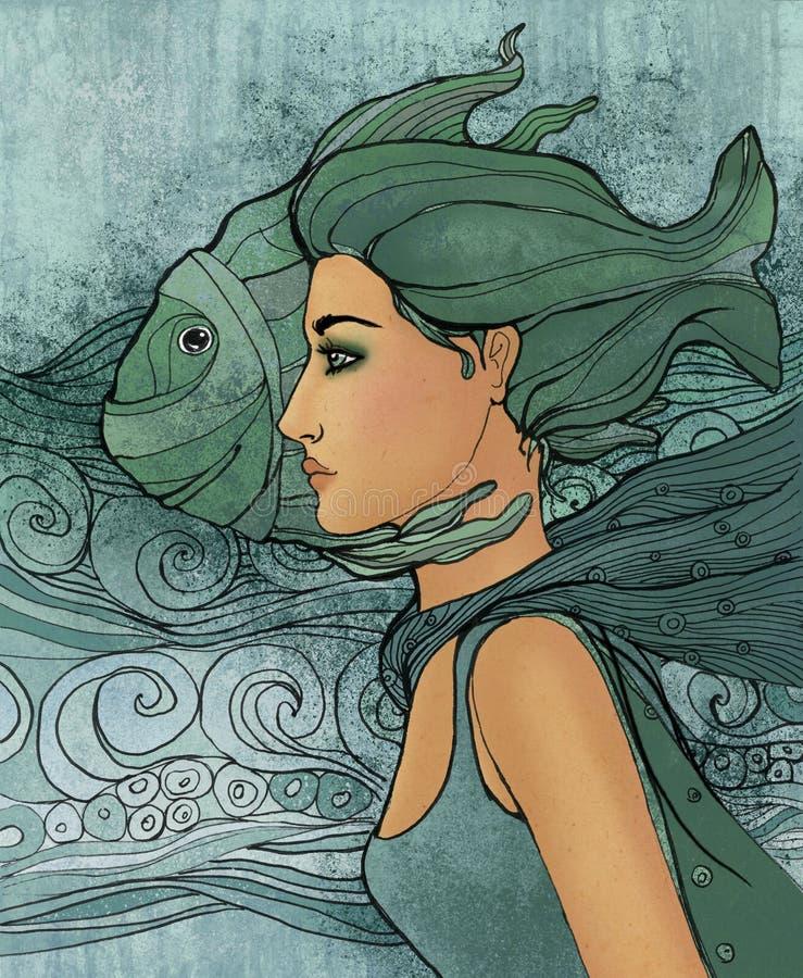 Sinal do zodíaco de Pisces como uma menina bonita ilustração royalty free