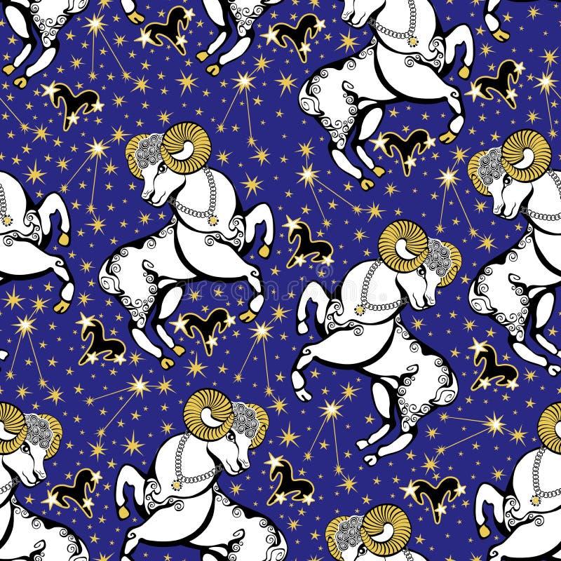 Sinal do zodíaco do Áries, constelação, estrelas. Alinhador longitudinal sem emenda do horóscopo ilustração stock