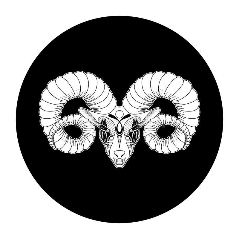 Sinal do zodíaco do Áries, símbolo do horóscopo, ilustração do vetor ilustração royalty free