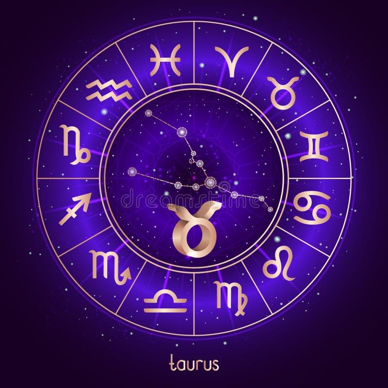 Sinal do zodíaco e TOURO da constelação com círculo do horóscopo e símbolos sagrados no fundo estrelado do céu noturno com pancad ilustração royalty free