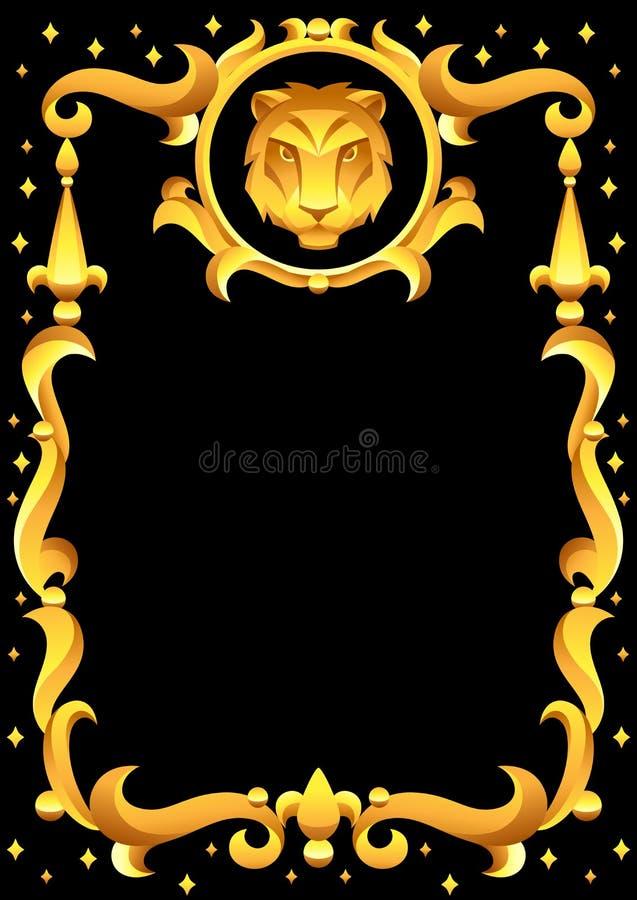 Sinal do zodíaco do Leão com quadro dourado S?mbolo do Horoscope ilustração do vetor