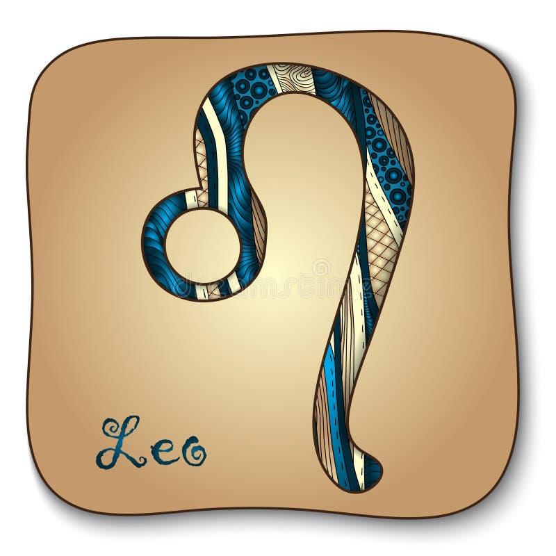Sinal do zodíaco - Leão.  Estilo desenhado à mão da garatuja ilustração stock