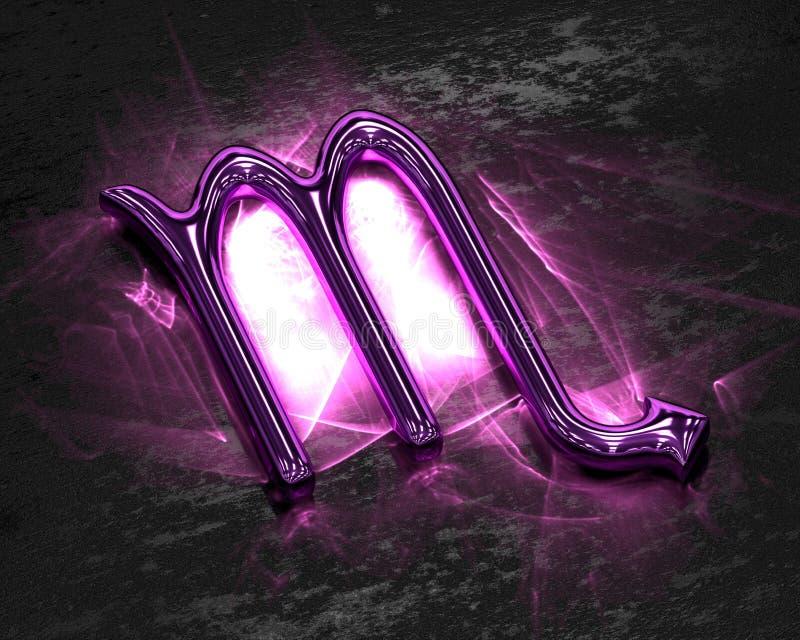 Sinal do zodíaco no metal cor-de-rosa com cáusticos - Escorpião ilustração stock