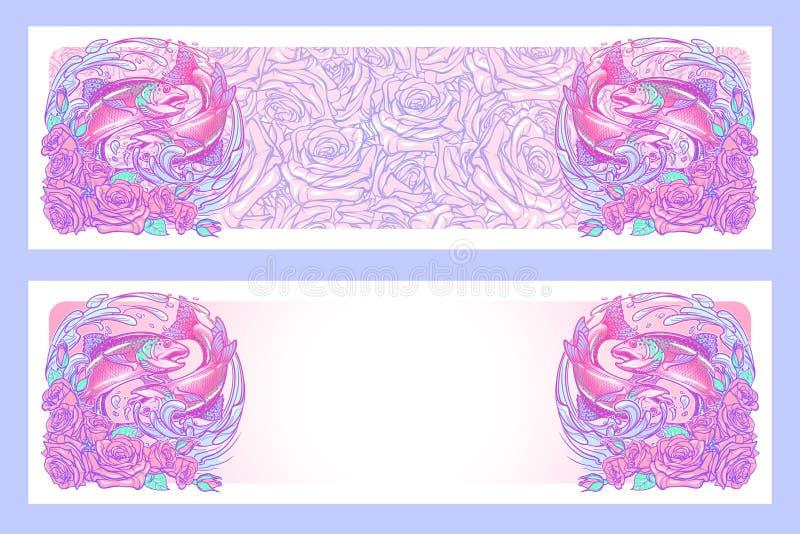 Sinal do zodíaco - Pisces Dois peixes que saltam da água ilustração do vetor
