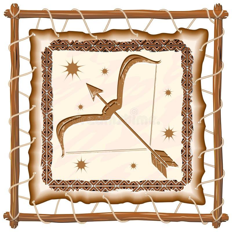 Sinal do zodíaco do Sagitário no quadro de couro tribal nativo ilustração stock