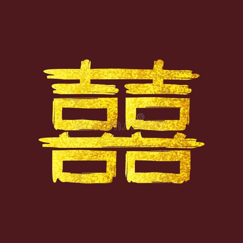 Sinal dobro da felicidade do caráter chinês do ouro ilustração royalty free
