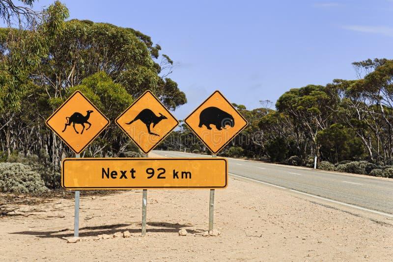 Sinal dos animais da estática do SA 92 quilômetros fotografia de stock royalty free