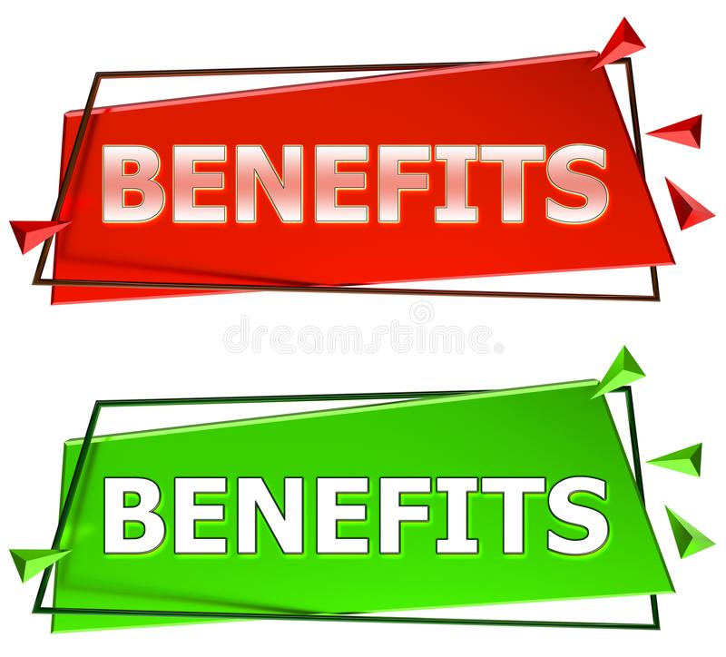 Sinal dos benefícios ilustração do vetor