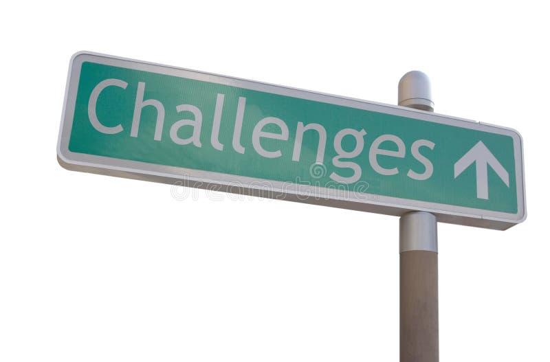Sinal dos desafios imagens de stock royalty free