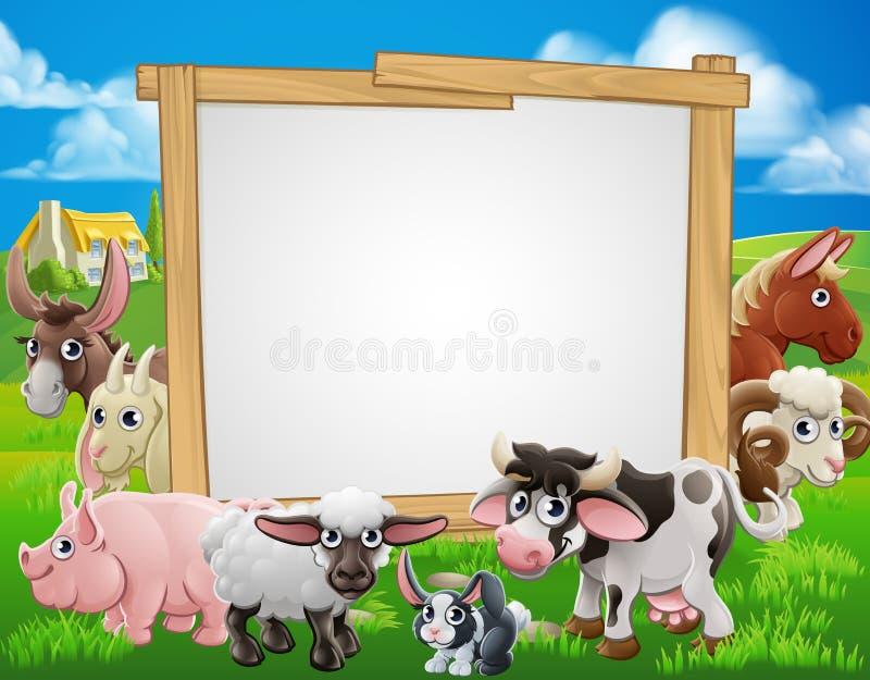 Sinal dos desenhos animados dos animais de exploração agrícola ilustração stock