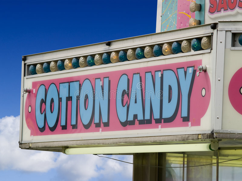 Sinal dos doces de algodão imagem de stock