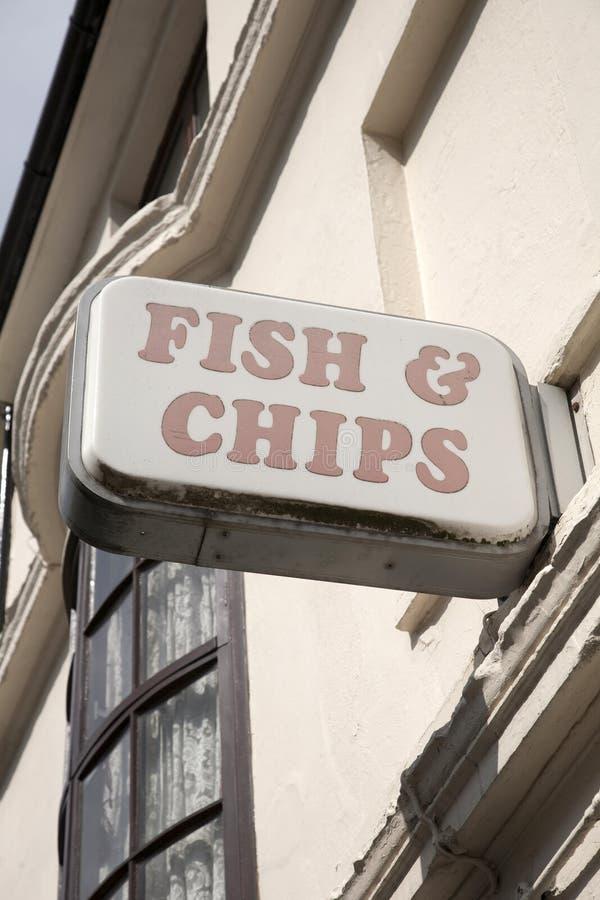 Sinal dos peixes e das microplaquetas fotografia de stock