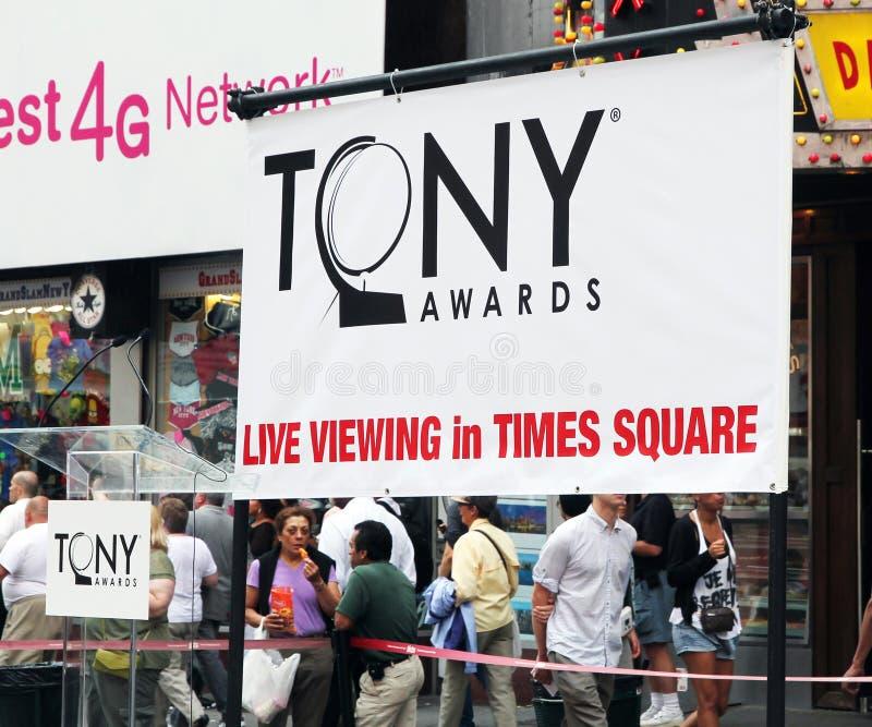 Sinal dos prémios Tony fotografia de stock royalty free