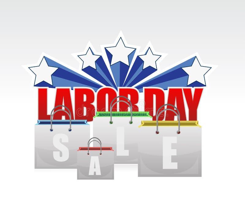 sinal dos sacos de compras da venda do Dia do Trabalhador ilustração royalty free