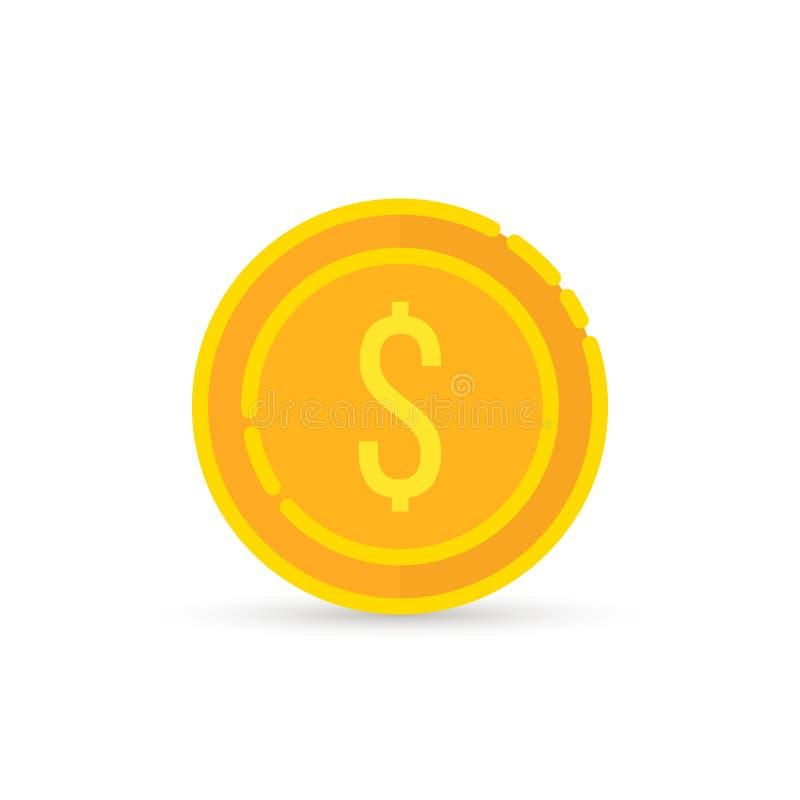 Sinal dourado da moeda do dólar com sombra ilustração royalty free