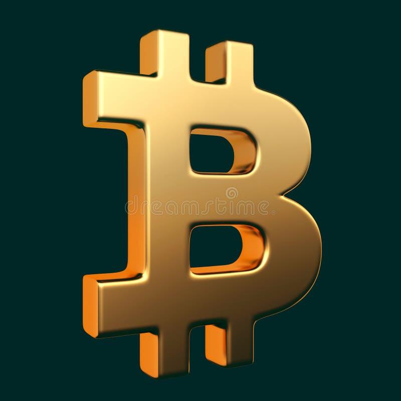 Sinal dourado de Bitcoin ilustração stock