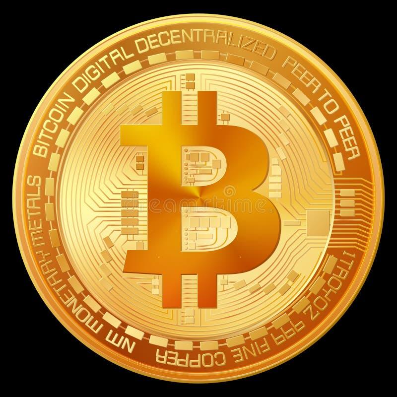 Sinal dourado de Bitcoin ilustração royalty free
