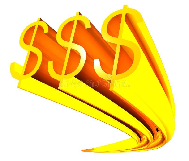 Sinal dourado do dólar ilustração royalty free
