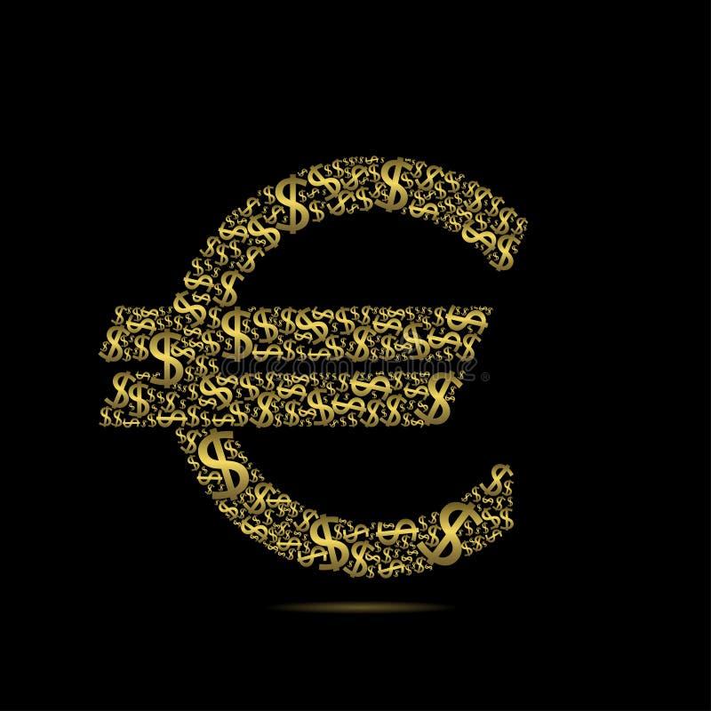 Sinal dourado do Euro ilustração stock