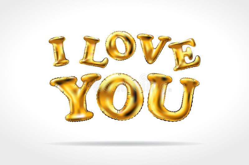 Sinal dourado do vetor eu te amo balões infláveis do ouro isolados no fundo branco ilustração royalty free