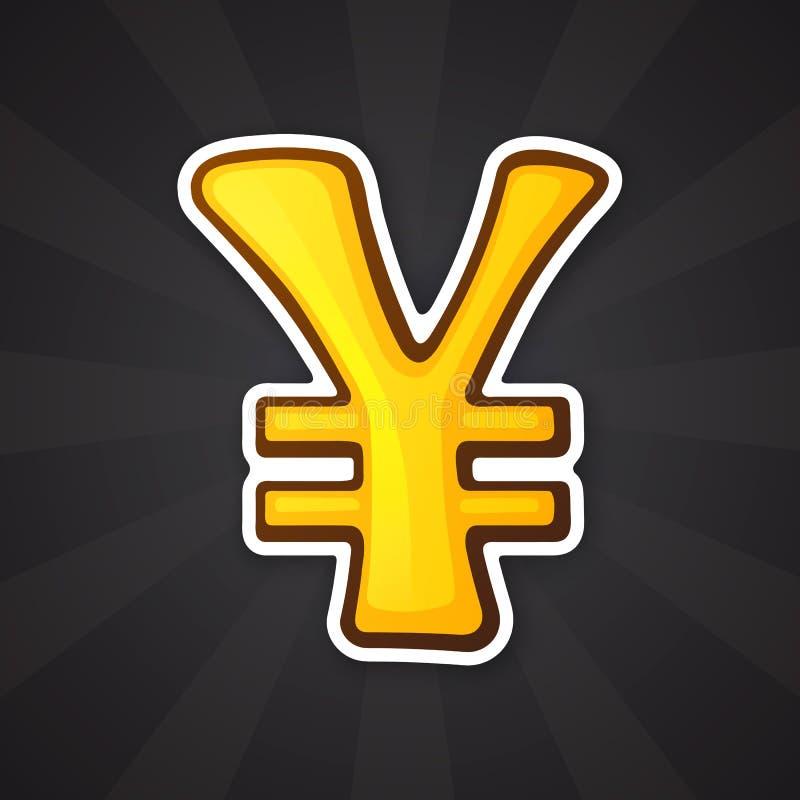 Sinal dourado dos ienes e do yuan da etiqueta ilustração royalty free