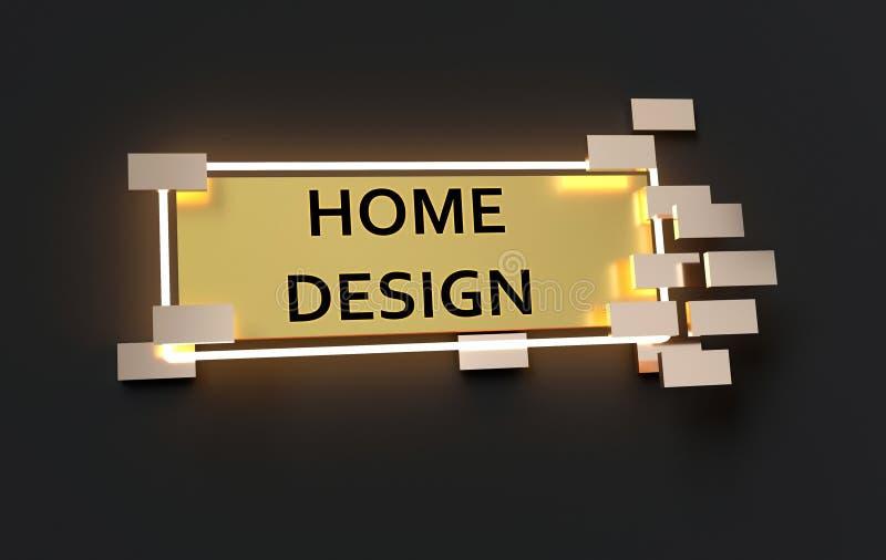 Sinal dourado moderno do projeto home ilustração do vetor