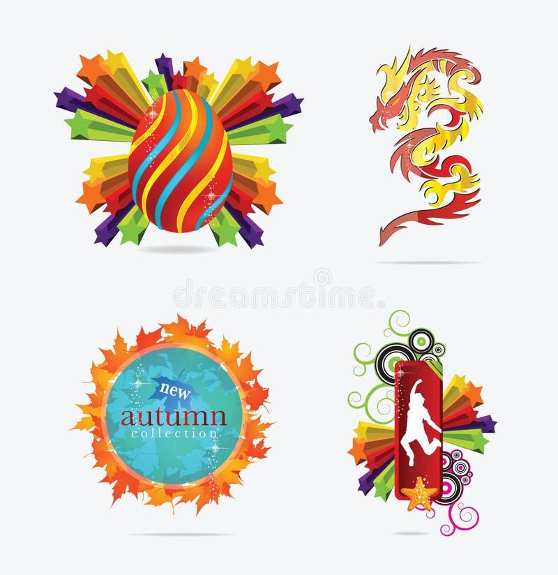 Sinal e emblemas creativos dos conceitos ilustração stock