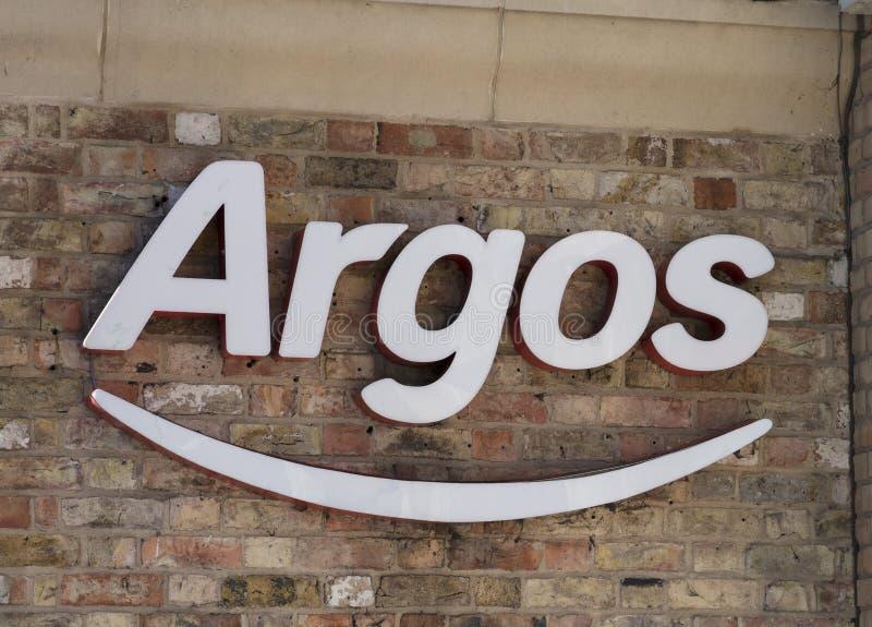Sinal e logotipo da loja do catálogo de Argos fotos de stock
