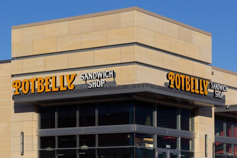 Sinal e logotipo da loja do sanduíche da barriga de potenciômetro fotografia de stock royalty free