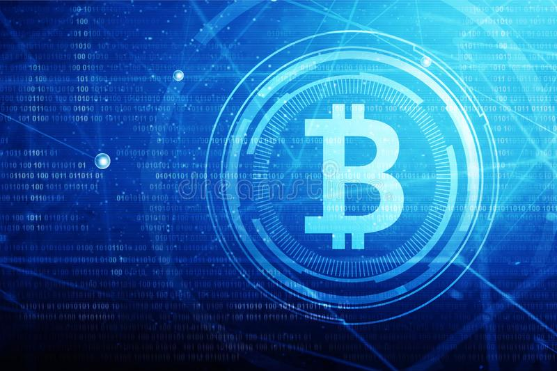 Sinal e logotipo dourados do bitcoin fotos de stock