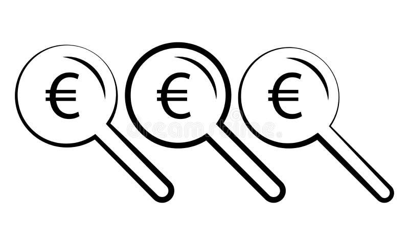 Sinal e lupa do Euro - procurando pelo ícone do Euro do dinheiro ilustração royalty free