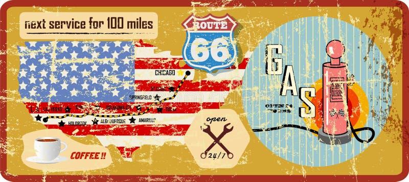 Sinal e mapa de estradas sujos do posto de gasolina da rota 66 ilustração stock