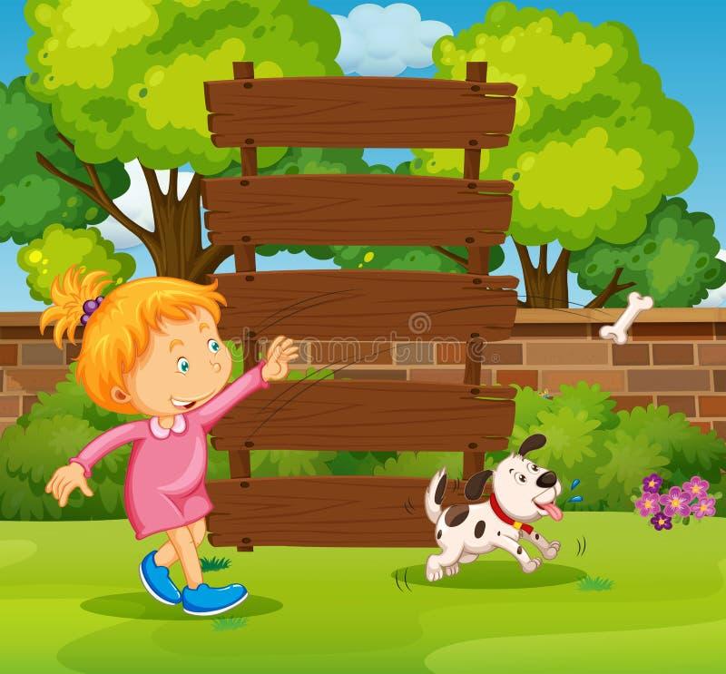 Sinal e menina de madeira no parque ilustração stock