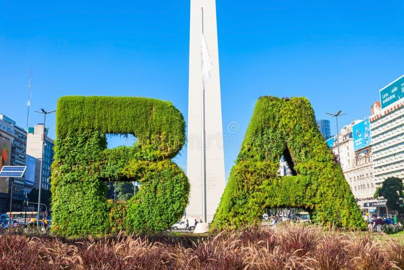 Sinal e Obelisco de Buenos Aires imagem de stock royalty free