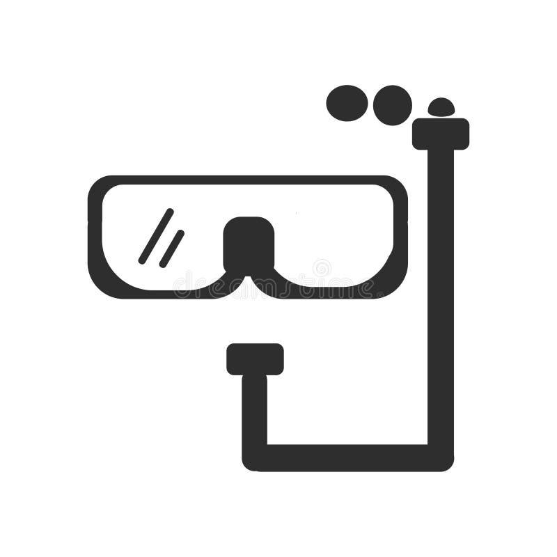 Sinal e símbolo de mergulho do vetor do ícone dos óculos de proteção isolados no fundo branco, conceito de mergulho do logotipo d ilustração royalty free