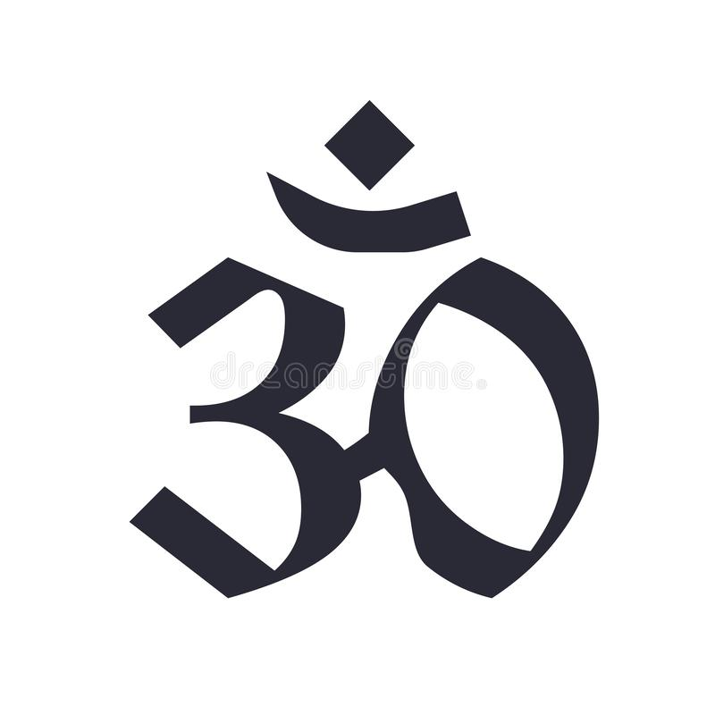 Sinal e símbolo do ícone de Pranava OM isolados no fundo branco, conceito do logotipo de Pranava OM ilustração do vetor