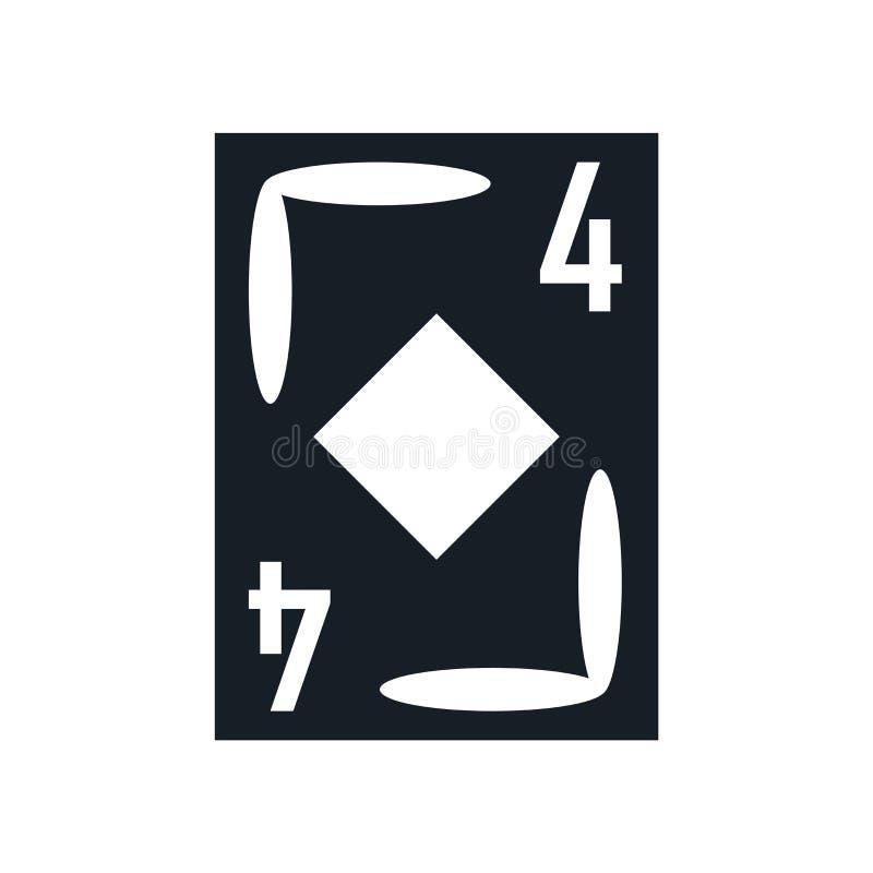Sinal e símbolo do vetor do ícone do ás do diamante isolados no fundo branco, conceito do logotipo do ás do diamante ilustração stock