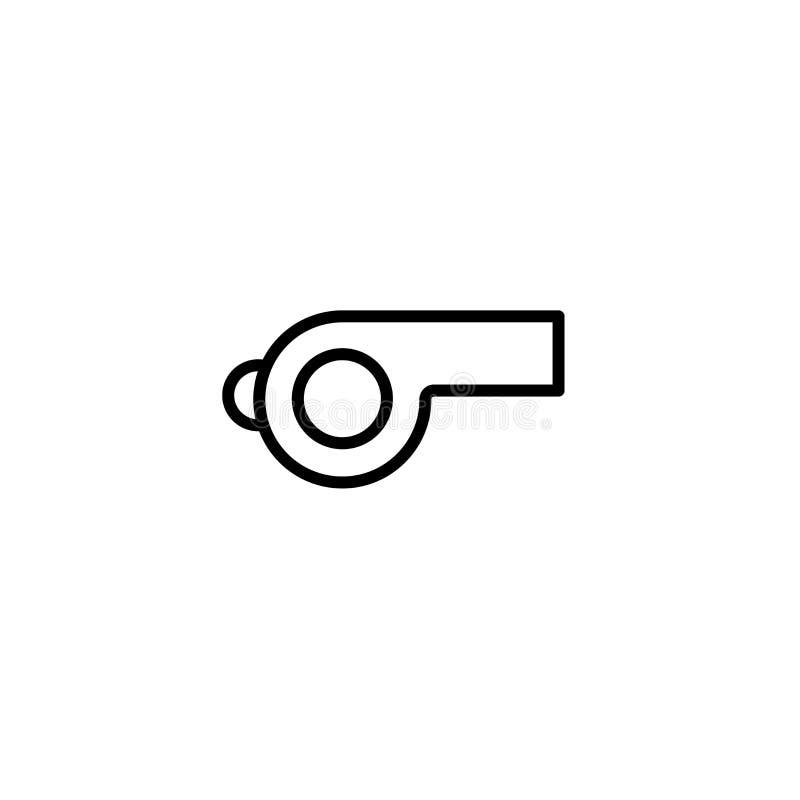 Sinal e símbolo do vetor do ícone do assobio isolados no fundo branco, conceito do logotipo do assobio ilustração royalty free