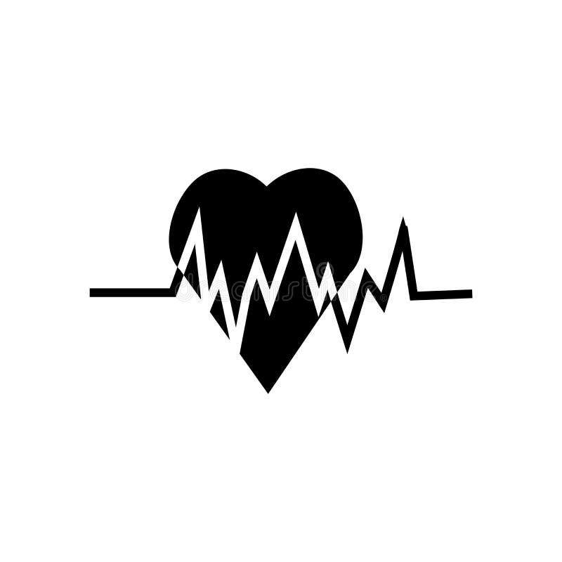 Sinal e símbolo do vetor do ícone do batimento cardíaco isolados no fundo branco, conceito do logotipo do batimento cardíaco ilustração do vetor