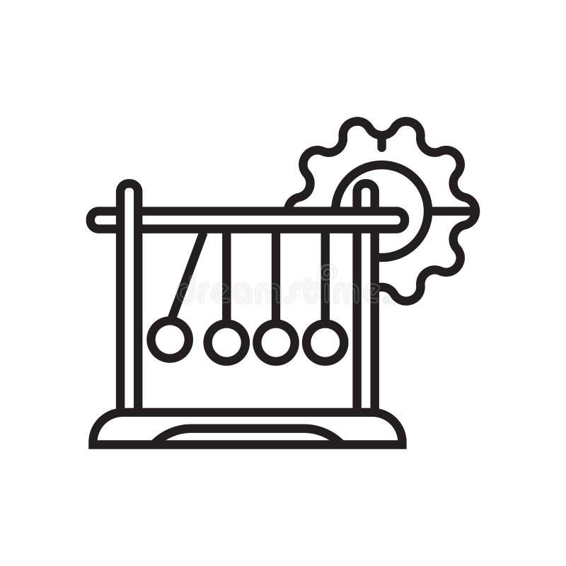 Sinal e símbolo do vetor do ícone do berço de Newton isolados na parte traseira branca ilustração do vetor