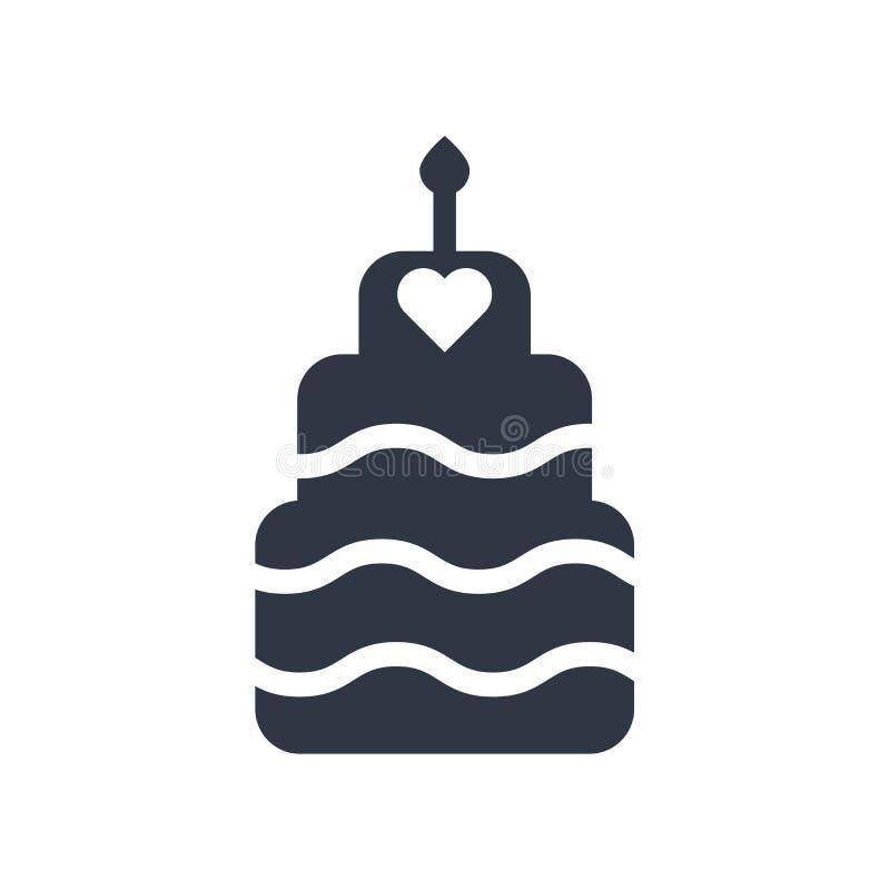 Sinal e símbolo do vetor do ícone do bolo da celebração isolados no fundo branco, conceito do logotipo do bolo da celebração ilustração do vetor