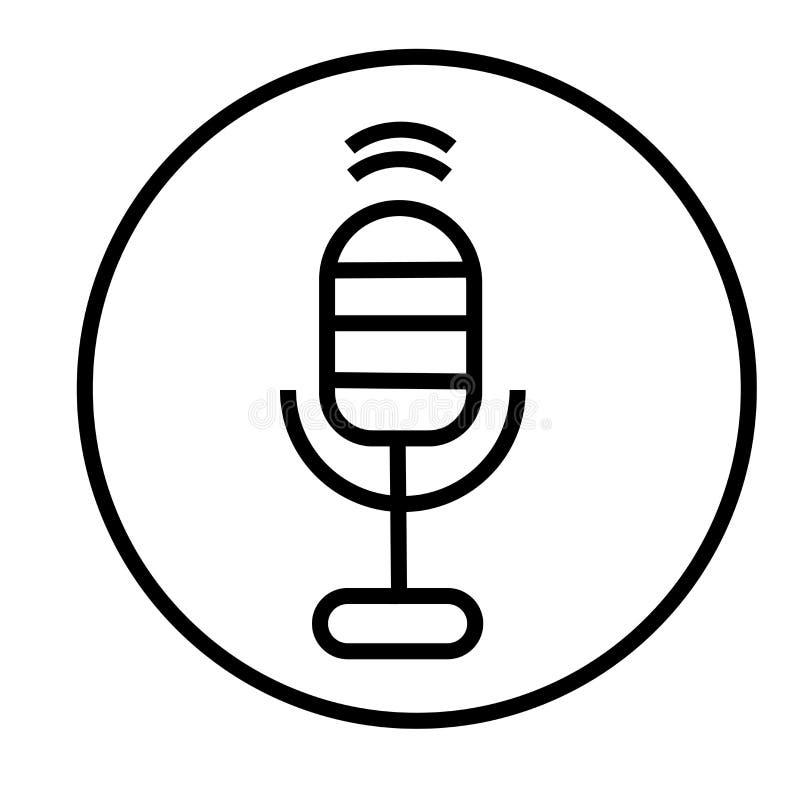Sinal e símbolo do vetor do ícone do botão do microfone da mensagem da voz isolados no fundo branco, logotipo do botão do microfo ilustração royalty free