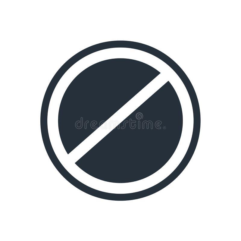 Sinal e símbolo do vetor do ícone do círculo da proibição isolados no fundo branco, conceito do logotipo do círculo da proibição ilustração royalty free