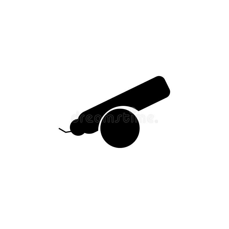 Sinal e símbolo do vetor do ícone do canhão isolados no fundo branco, conceito do logotipo do canhão ilustração stock