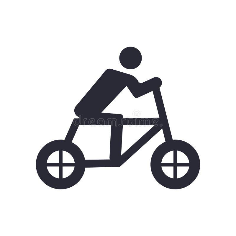 Sinal e símbolo do vetor do ícone do ciclista isolados no fundo branco, conceito do logotipo do ciclista ilustração royalty free