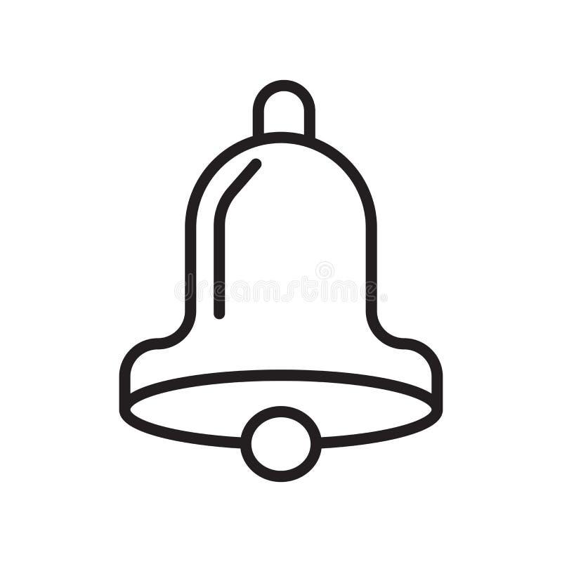 Sinal e símbolo do vetor do ícone do cincerro isolados no fundo branco, conceito do logotipo do cincerro, símbolo do esboço, sina ilustração royalty free