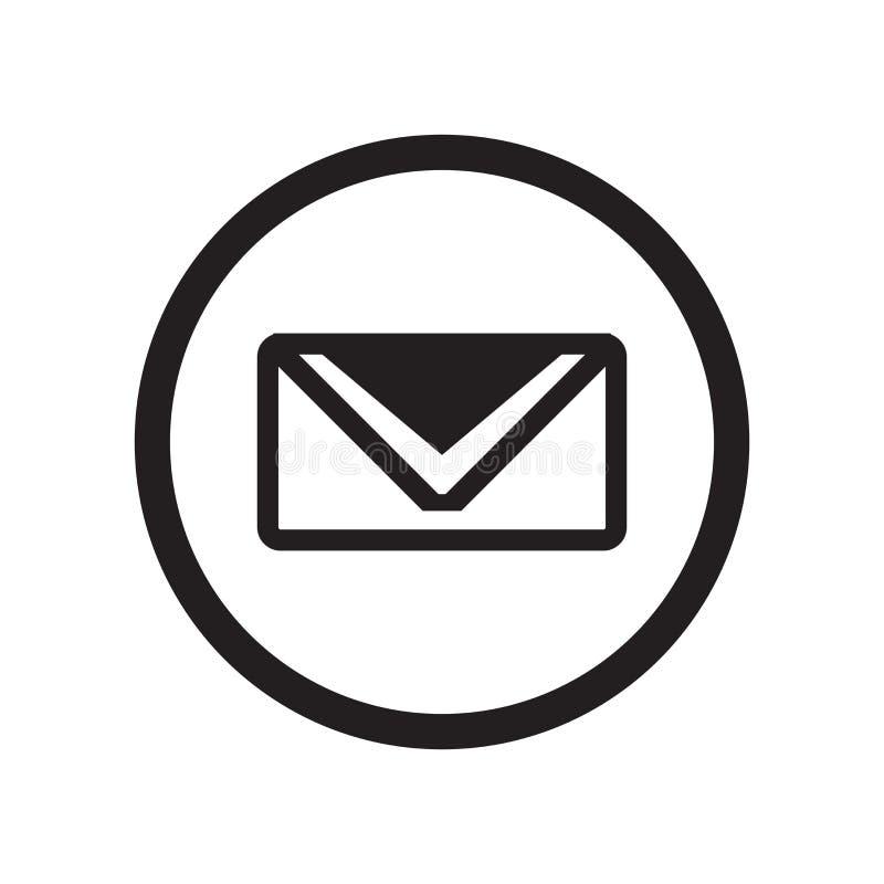 Sinal e símbolo do vetor do ícone do sinal do correio isolados no fundo branco, conceito do logotipo do sinal do correio ilustração stock