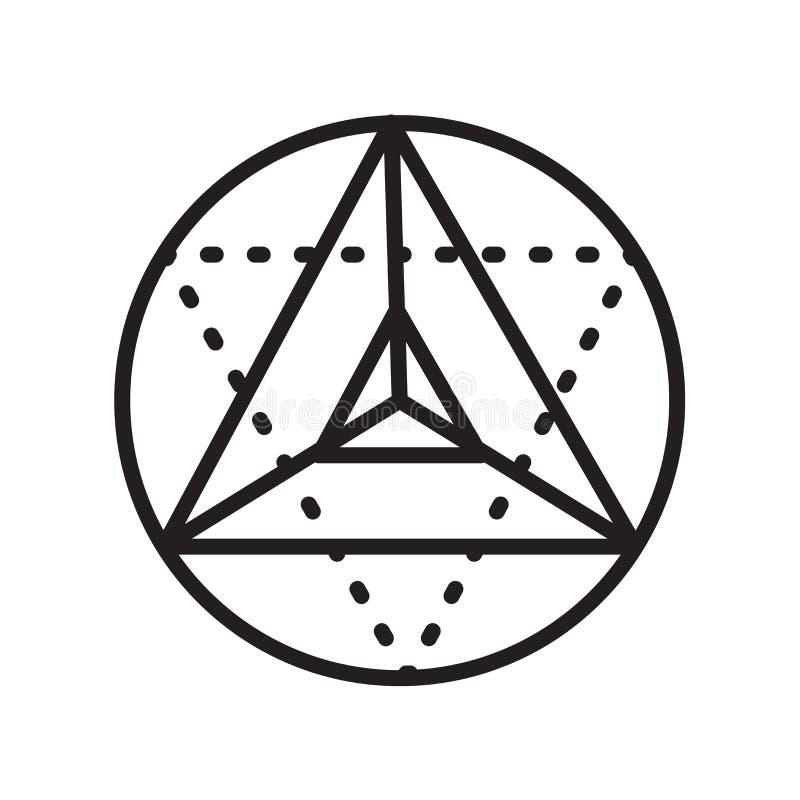 Sinal e símbolo do vetor do ícone do cubo de Metatron isolados na parte traseira branca ilustração royalty free
