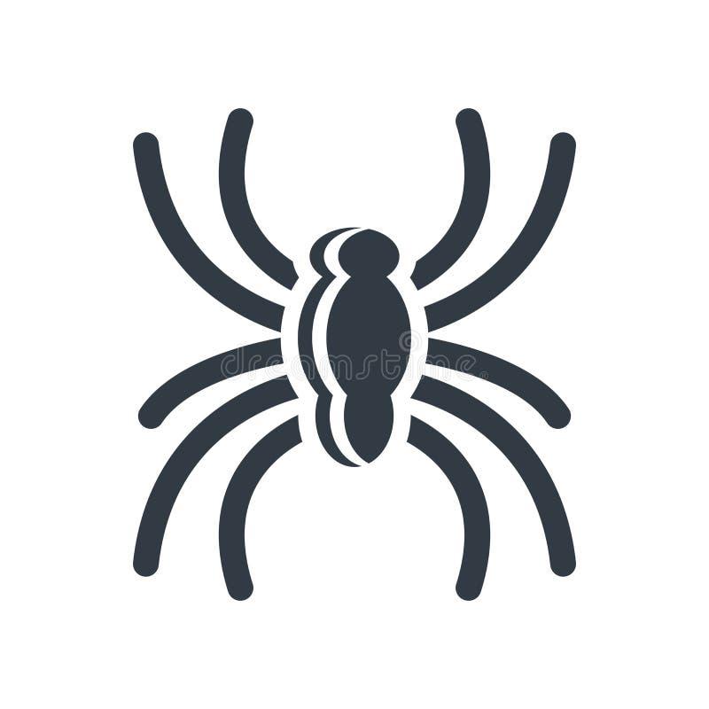 Sinal e símbolo do vetor do ícone da aranha isolados no fundo branco ilustração royalty free